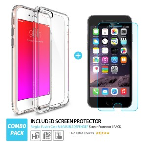 iPhone 6S Plus Case, Ringke FUSION Shock Absorption Technology[FREE Screen Protector][CRYSTAl VIEW] Crystal Clear PC Back Drop Protection TPU Bump
