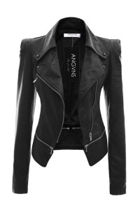 ANGVNS Stylish Women's Faux Leather Power Shoulder Coat for Winter