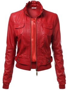 J.TOMSON Women's Faux Leather PU Moto Zip Up Jacket