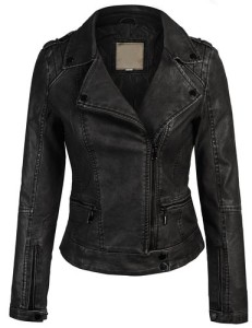 Kogmo Women's Faux Leather Zip Up Everyday Bomber Jacket