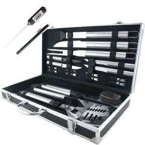 Teikis® 19-Piece Deluxe Stainless Steel BBQ Tool Set With Storage Case - Includes Spatula with Bottle Opener, Fork, Tongs, Knife, grill&Basti