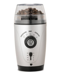 Hamilton Beach 80365 Custom Grind Hands-Free Coffee Grinder, Platinum