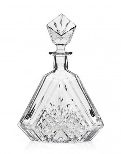 James Scott Triangular Crystal, Liquor, Whiskey,Wine, Decanter- Irish Cut 610ML. 10.25 in. Tall; Full Ground Crystal Stopper.
