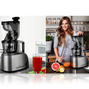 NutriChef PKSJ40 Countertop Masticating Slow Juicer Juice and Drink Maker, Stainless Steel