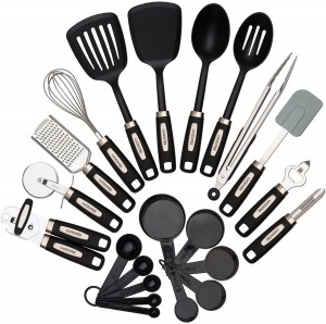 22-piece Kitchen Utensils Sets - Home Cooking Tools- Stainless Steel & Nylon Gadgets- Turners, Tongs, Spatulas, Pizza Cutter, Whisk, Bottle Opener, Grater, Peeler, Can Opener, Measuring Cups & Sp