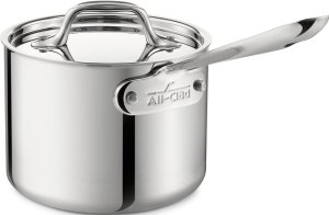 All-Clad 4201.5 Stainless Steel Tri-Ply Bonded Dishwasher Safe Sauce Pan with Lid Cookware, 1.5-Quart, Silver