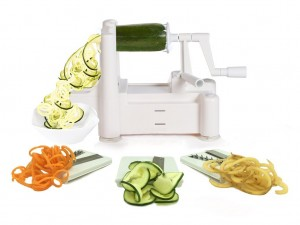 Spiralizer Tri-Blade Vegetable Spiral Slicer, Strongest-Heaviest, Best Veggie Pasta Spaghetti Maker for Low CarbPaleoGluten