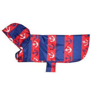 RC Pet Products Packable Dog Rain Poncho, Nautical