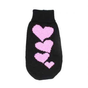 Uxcell XX-Small Hearts Pattern Pet Puppy Turtleneck Apparel Knitwear Sweater, Size 6, Black