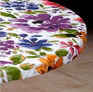 White Floral Vinyl Table Cover (Assorted Sizes) (Small Round Fits 36-44Dia. Table)