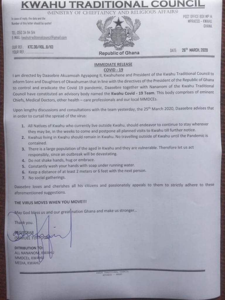 Don't visit or leave Kwahu  - Chief declares lockdown 1