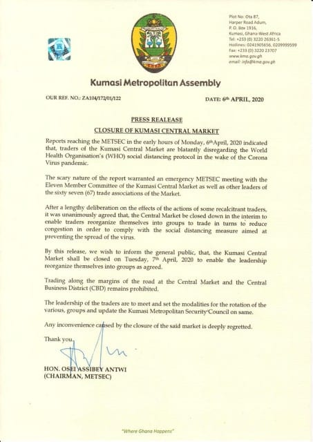 Kumasi Central Market closed down 1