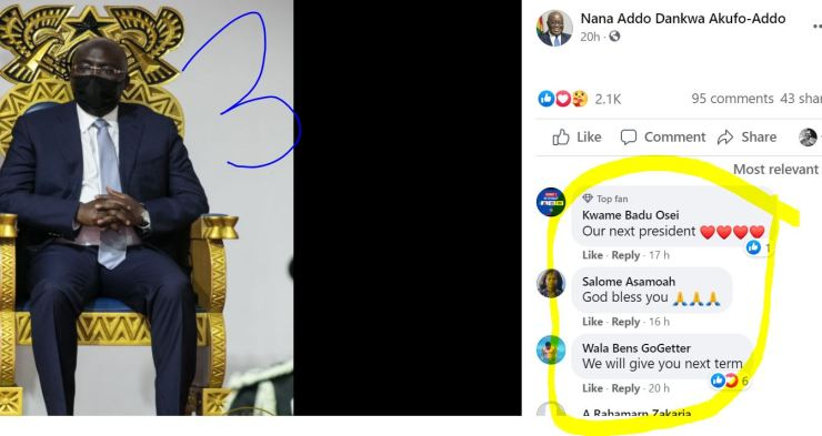10 Screenshots: NPP loyalists 'invade' Akufo-Addo's Facebook page; demand Bawumia 2024 7