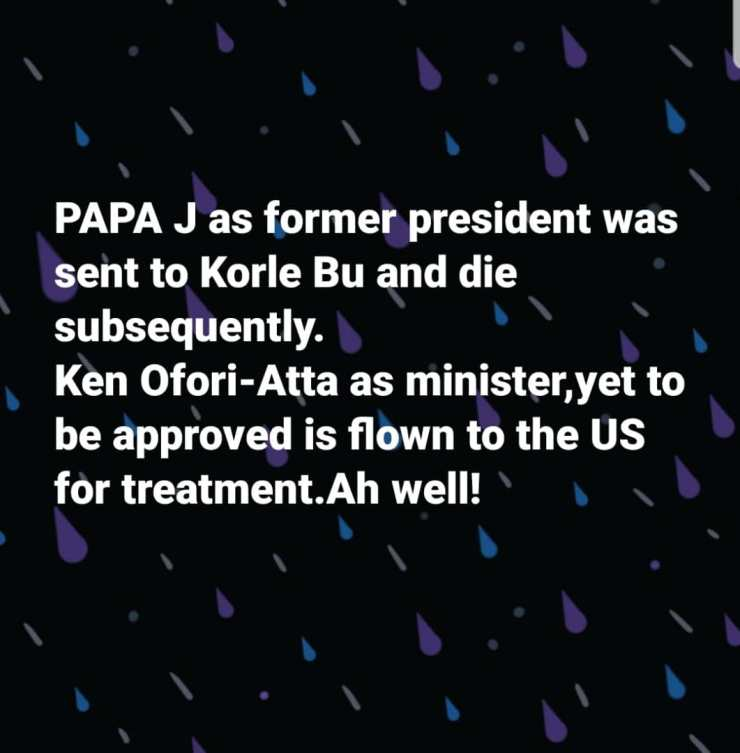 You left JJ to die at Korle Bu but flying Ofori-Atta to the US for treatment – Akufo-Addo govt roasted 4