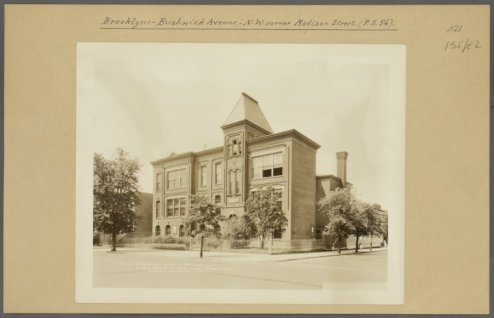 Old PS 56 on Bushwick and Madison Avenues in 1931/NYPL Digital Collections