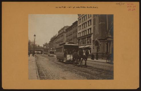 42nd between 5th and 6th facing 6th Ave and the old 6th Ave El in 1889/NYPL Digital Collections