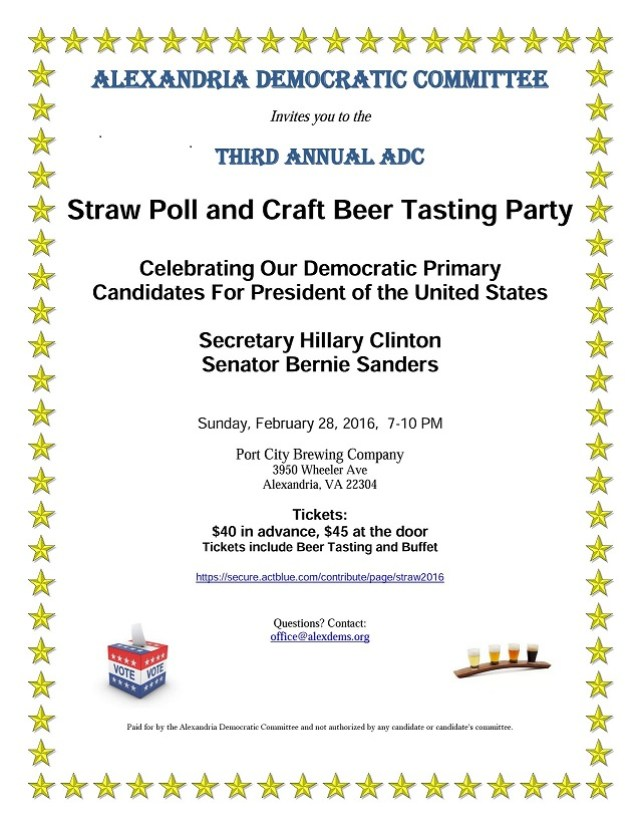 Alexandria Democratic Committee Straw Poll and Craft Beer