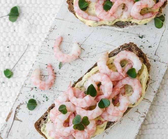 Smørrebrød with Prawns & Wood Sorrel Mayonnaise