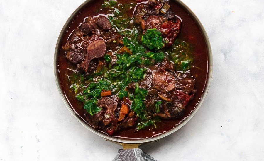 Oksehalesuppe | Oxtail Stew with Chimichurri
