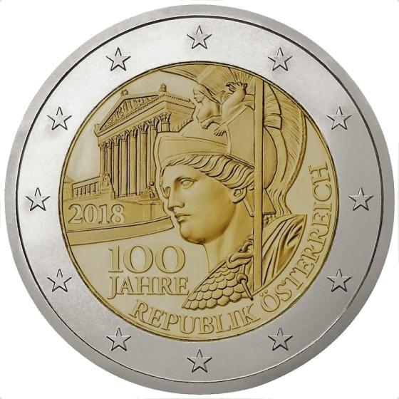 2 euros commémorative des 100 ans de la république d'autriche