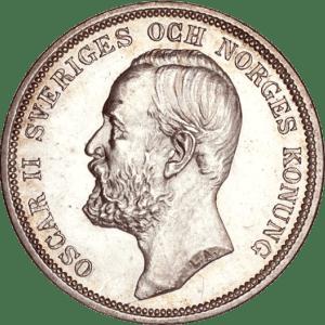 2 Kronor Oscar II silvermynt - Konung av Sverige och Norge