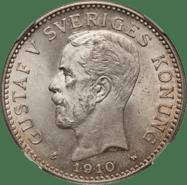 2 Kronor Gustaf V silvermynt - Sveriges konung