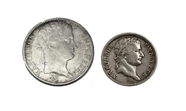 Samling i silver Napoleon I - 1 franc och 5 francs