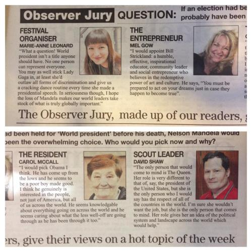 Facebook Post on The Jury, with Marie-Ann Leonard and Melanie Gow about a world president