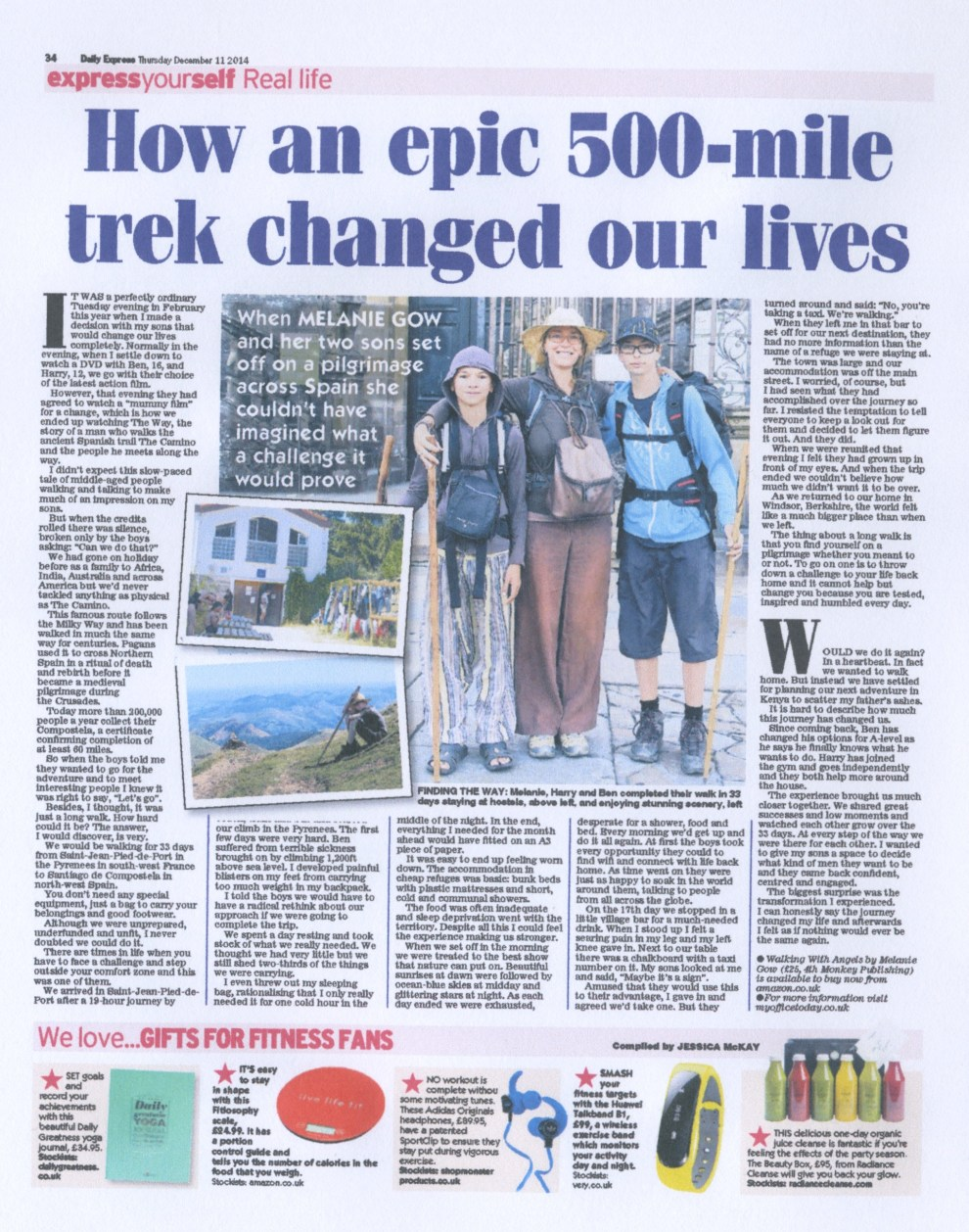 Daily Express Feature on Walking With Angels Story Feature, Press for Melanie Gow