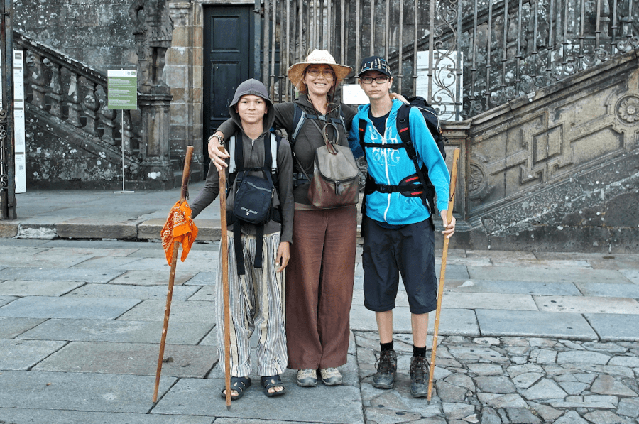 Arriving in Santiago at the end of 800km and 33 days, Melanie, Ben and Harry Gow