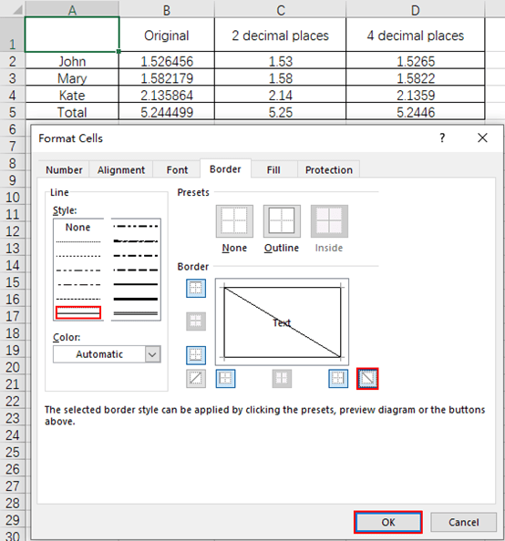 How to Add a Diagonal Line to the Cell in Excel