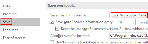 How to Change the Default Saving Format of Microsoft Excel