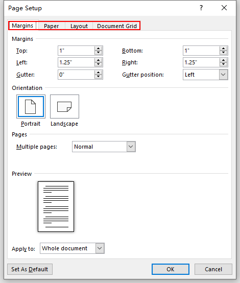 How to Change the Page Setup of a Document in Word 2019