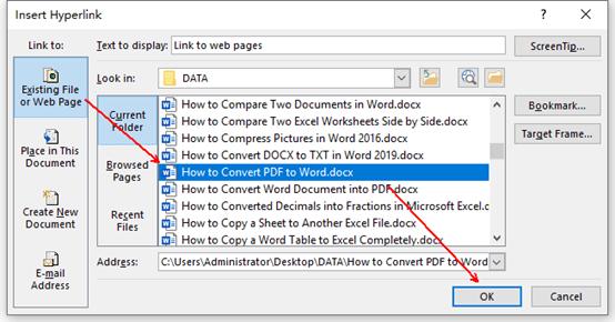 Choose a document in Insert Hyperlink