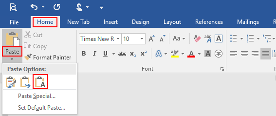 How to Paste Text in Word Without Format