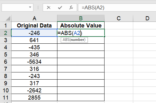 How to Calculate the Absolute Value with ABS Function in Excel