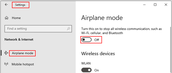 How to Turn On or Off Airplane Mode on Windows 10