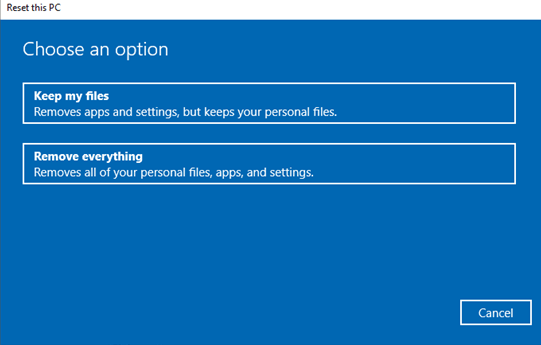 How to Reset Computer to Factory Settings in Windows 10