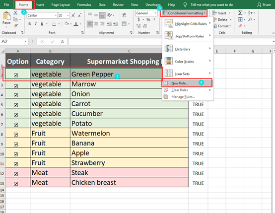 How To Check The Checkbox To Change The Cell Color