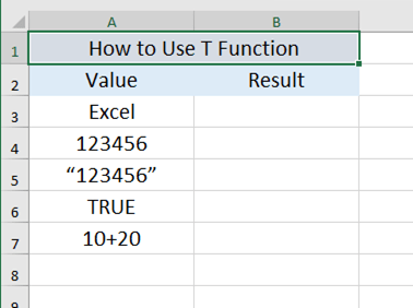 How To Use The T Function In Excel?