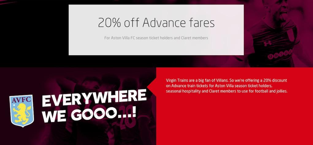 Virgin train discount Aston Villa season ticket holders