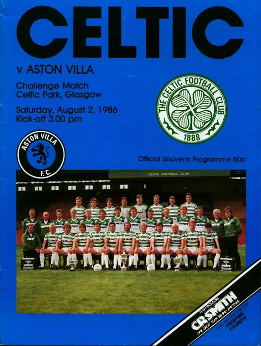Aston Villa vs Celtic 1986 programme cover