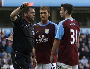 phil dowd sending aston villa player off