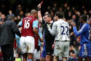 phil dowd sent off aston villa player