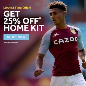 25% off Aston Villa home shirt sale