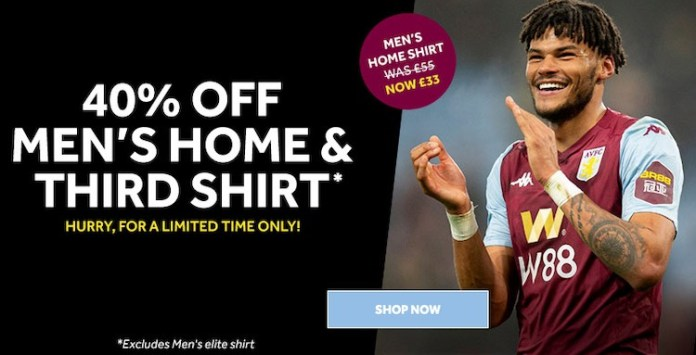 40% off Aston Villa shirts
