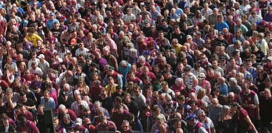 Aston Villa fans waiting outside of Wembley 2018