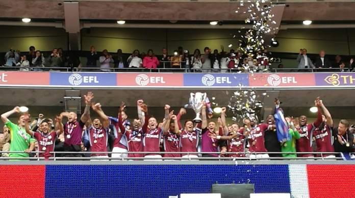 Aston Villa lift play-off trophy wembley