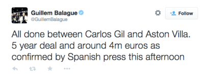 Carles Gil deal confirmed for Aston Villa