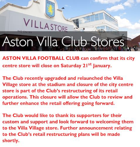 villa shop closed